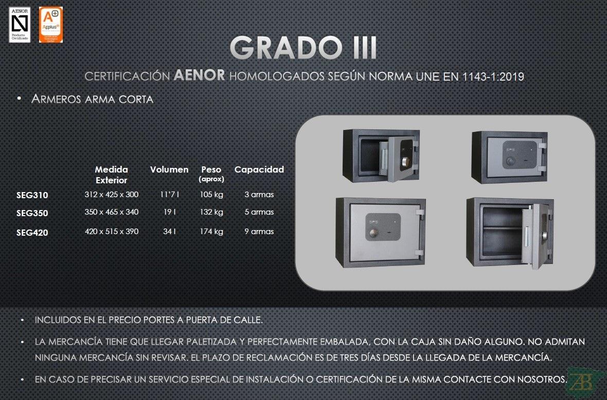 ARMERO SPS PARA ARMA CORTA GRADO III – HOMOLOGACIÓN 2012