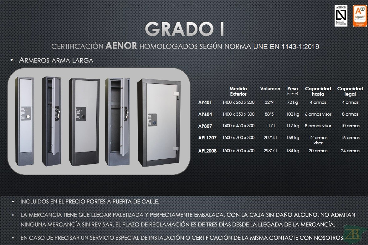 ARMERO SPS PARA ARMA LARGA GRADO I – HOMOLOGACIÓN 2012