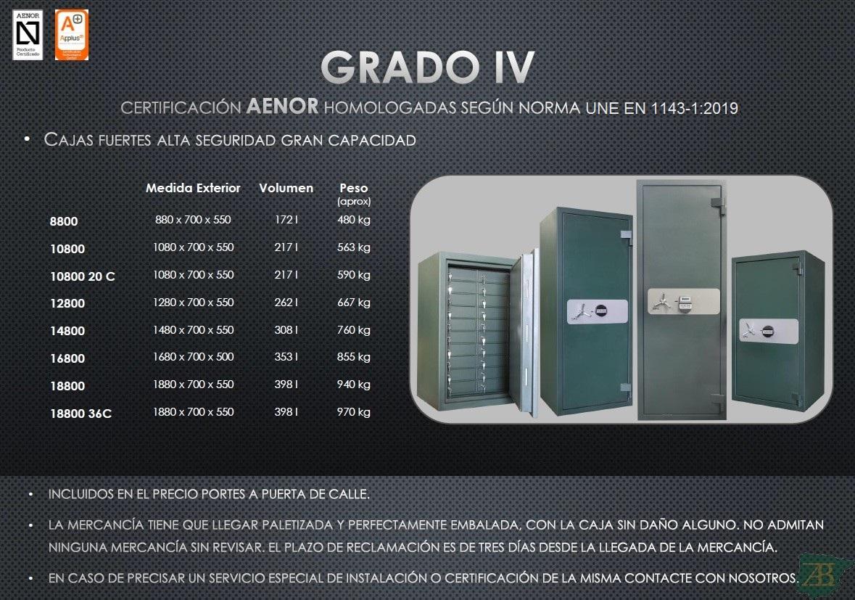 CAJAS FUERTES SPS ALTA SEGURIDAD GRAN CAPACIDAD GRADO IV – HOMOLOGACIÓN 2012