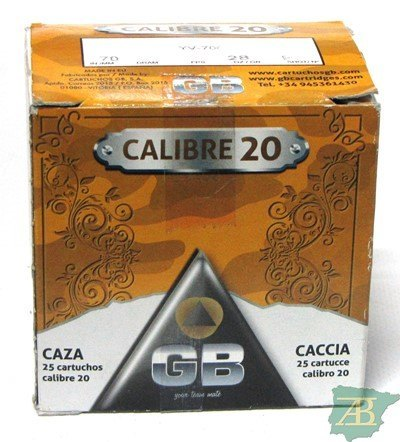 CAJON CARTUCHOS GB CAL. 20 28GR