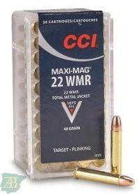 MUNICION METALICA ARMA CORTA CCI .22 WMR MAXI-MAG 40gr PUNTA Cobre